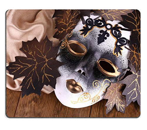 Pantomime Costumes Cheap (Luxlady Mousepad Mask on golden fabric on wooden background IMAGE 24105092)