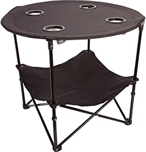 Camping Table Portable Camping Side Table for Outdoor Picnic, Beach, Games, Camp, & Patio Tables Folding with Carry Case for Travel & Storage, Black, One Size (ts cam)