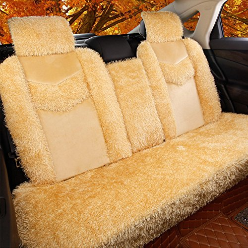 5 Pcs Universal Car Seat Cover Set Cushions Front Rear Coral Fleece Soft And Warm For Winter Driving (L, Beige) by AUTOPDR (Image #1)