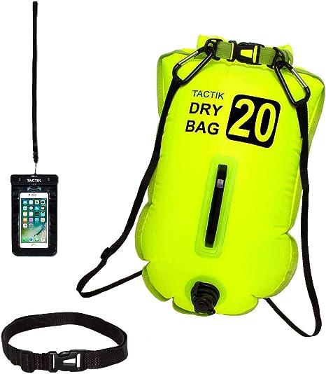 TACTIK Boya Natacion Aguas Abiertas - 20 y 28 litros - Boya Hinchable Antirrobo (Kayak/Paddle Surf/Buceo/Snorkel/Triathlon)