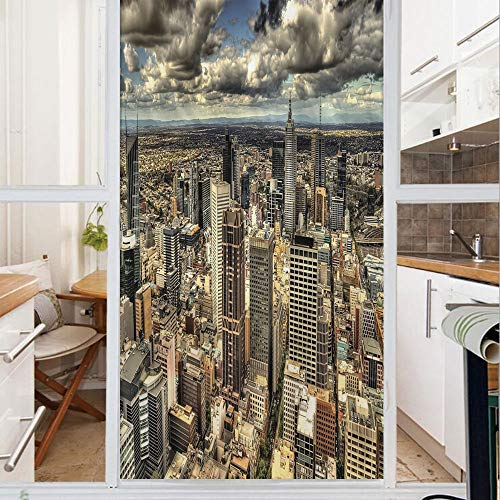 Decorative Window Film,No Glue Frosted Privacy Film,Stained Glass Door Film,Melbourne Cityscape Modern Australia Architecture Buildings Metropolis Dramatic Sky,for Home & Office,23.6In. by 78.7In Mult