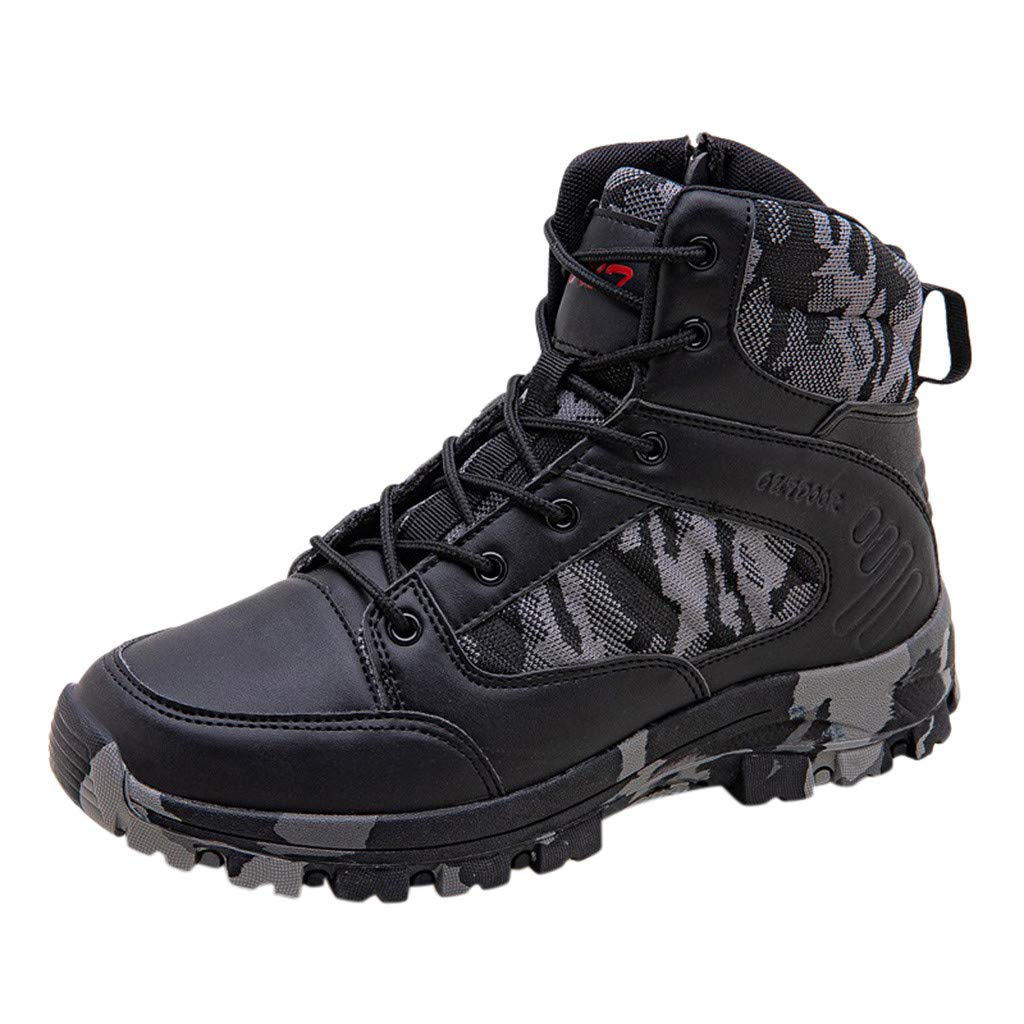 Fheaven Mens Military Combat Short Boots Casual Shoes Durable Desert Outdoor Hiking Lace up Boots High-Top Shoes Black by Fheaven-shoes