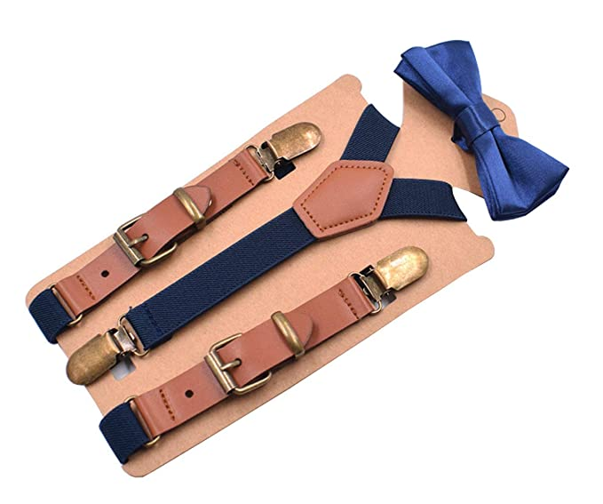 bea15f8f6381 MENDENG Toddler Boys Navy Suspenders Bow Tie Set PU Leather Braces Bronze  Clips: Amazon.co.uk: Clothing