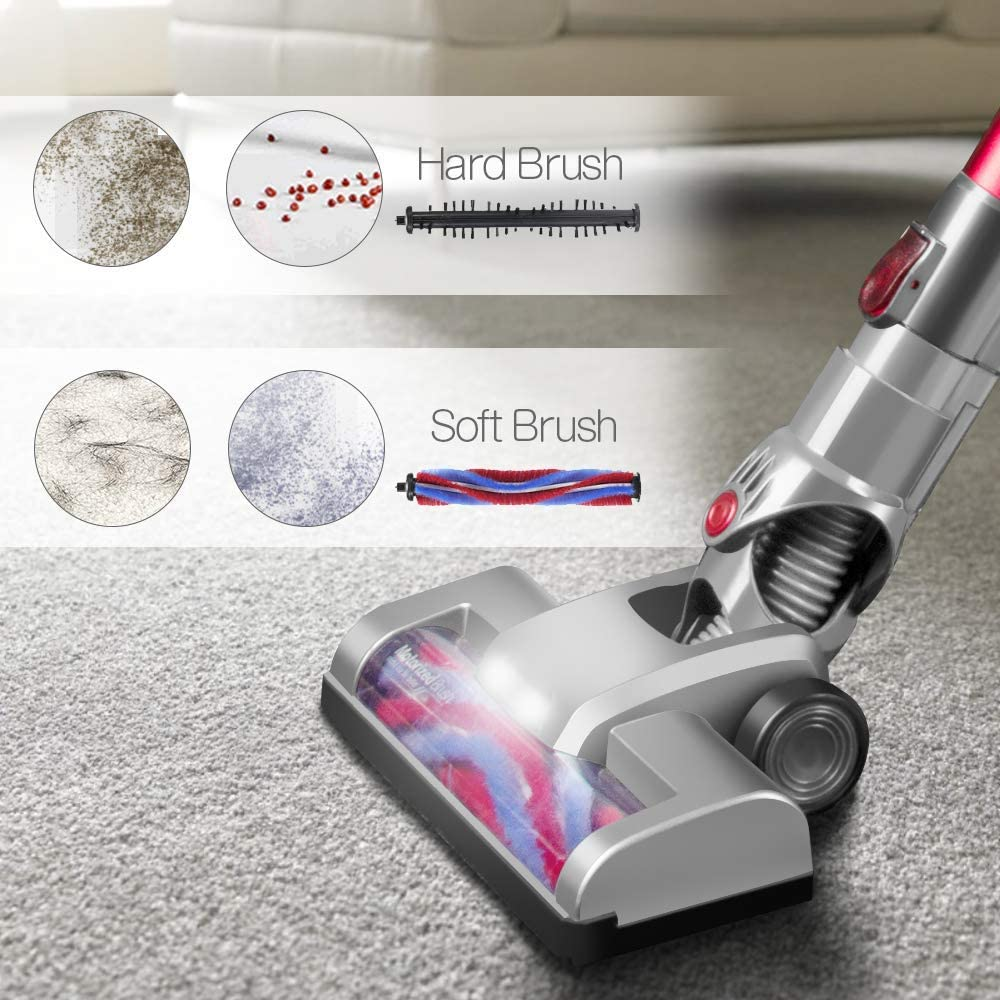 HueLiv Cordless Vacuum Cleaner 2 in 1 Handheld Lightweight stick Vacuum,18Kpa Brushless Powerful Suction Cleaner with Rechargeable Li-Ion Battery Wall-mounted LED Headlight For Carpet Floor Pet Hair