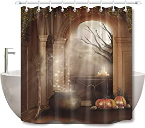 LB Halloween Fabric Shower Curtain Horror Jack-O Pumpkin Candles Broom Trees in Haunted Castle Gothic Bathroom Curtains for Spooky Halloween Party Backdrop 72x72 Inch Polyester Fabric