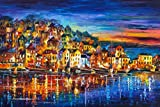 Quiet Town is a Limited Edition print from the Edition of 400. The artwork is a hand-embellished, signed and numbered Giclee on Unstretched Canvas by Leonid Afremov. Embellishment on each of these pieces will be slightly different, but the image itse...
