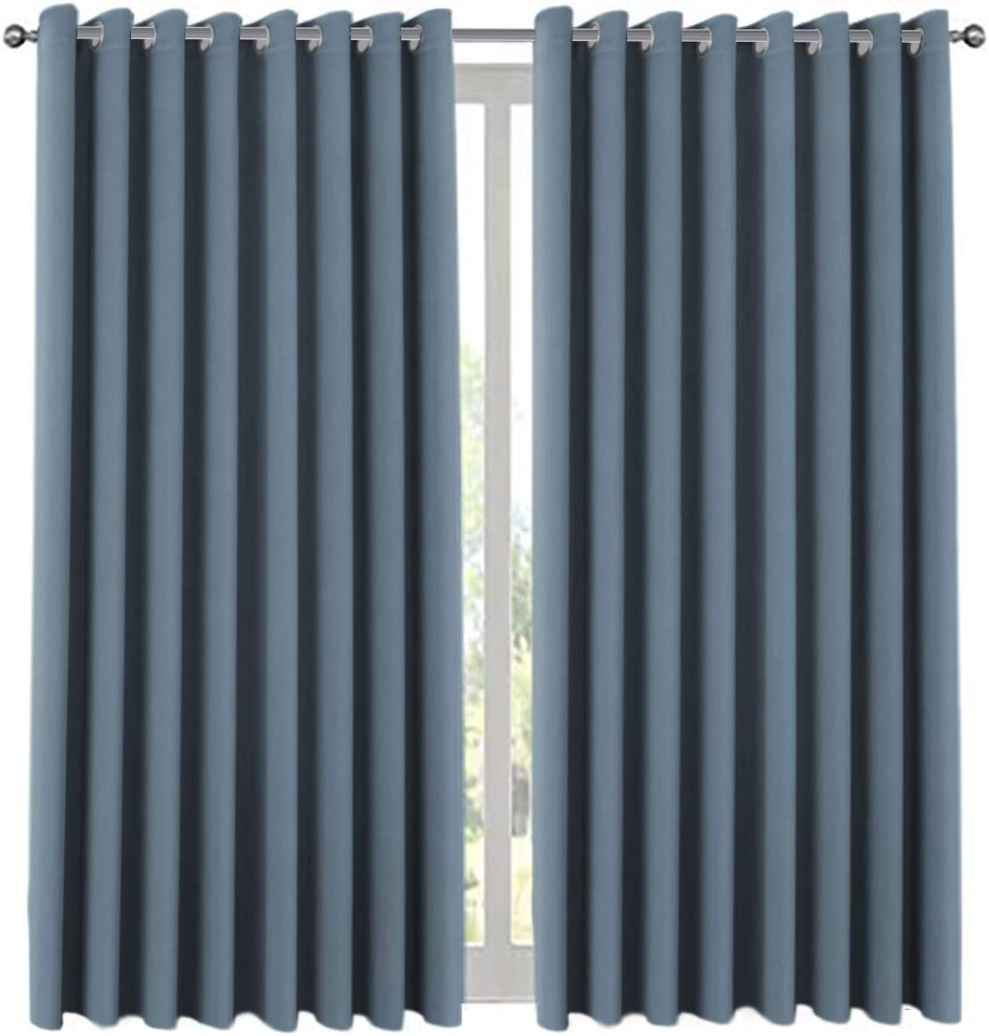 """H.VERSAILTEX Premium Room Divider (Nobody Can See Through, 9' Tall x 8.5' Wide), Blackout Curtain Panels, Extra Long and Wide Thermal Insulated Patio Curtains -100"""" W by 108"""" L- Stone Blue, One Panel"""