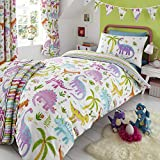 Happy Linen Company HLC Childrens Girls Dinosaur Park Jurassic Pink T-Rex Dino White Reversible UK Single/US Twin Bedding Duvet Cover Set
