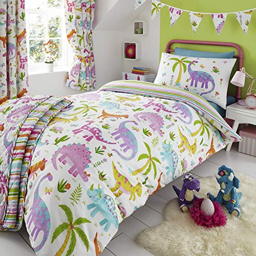 Happy Linen Company HLC Childrens Girls Dinosaur Park Jurassic Pink T-Rex Dino White Reversible UK Toddler Bedding Duvet Cover Set