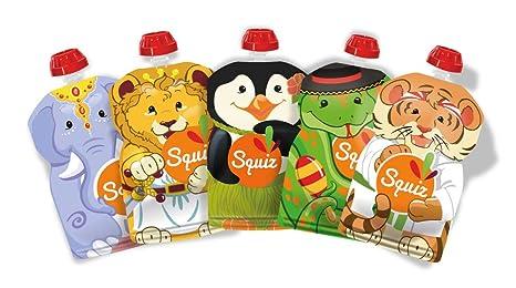 SQUIZ - 5 Bolsas de comida recargables y reutilizables 130ml para compotas y purés perfectas para niños, adolescentes y adultos // Libre de BPA – ...