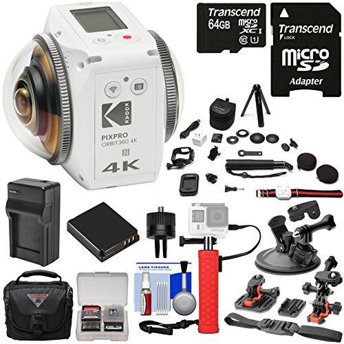 KODAK PIXPRO ORBIT360 VR 4K HD Wi-Fi Video Action Camera Camcorder - Satellite Pack + 64GB Card + Battery & Charger + Case + Action Mounts + Power Hand Grip Kit