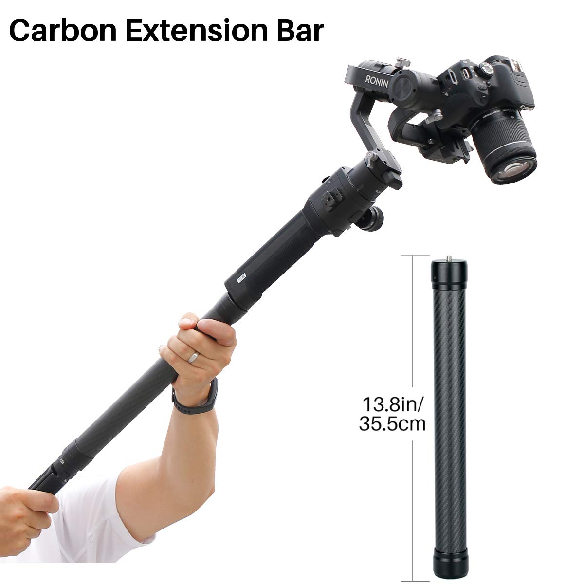 13.8inch Universal Carbon Fiber Monopod Extension Rod Pole Stick 1/4'' Tripod Thread Compatible for DJI Ronin S Moza Air 2 FeiyuTech Zhiyun Crane 2 Smooth 4 Gimbal Stabilizer Accessories