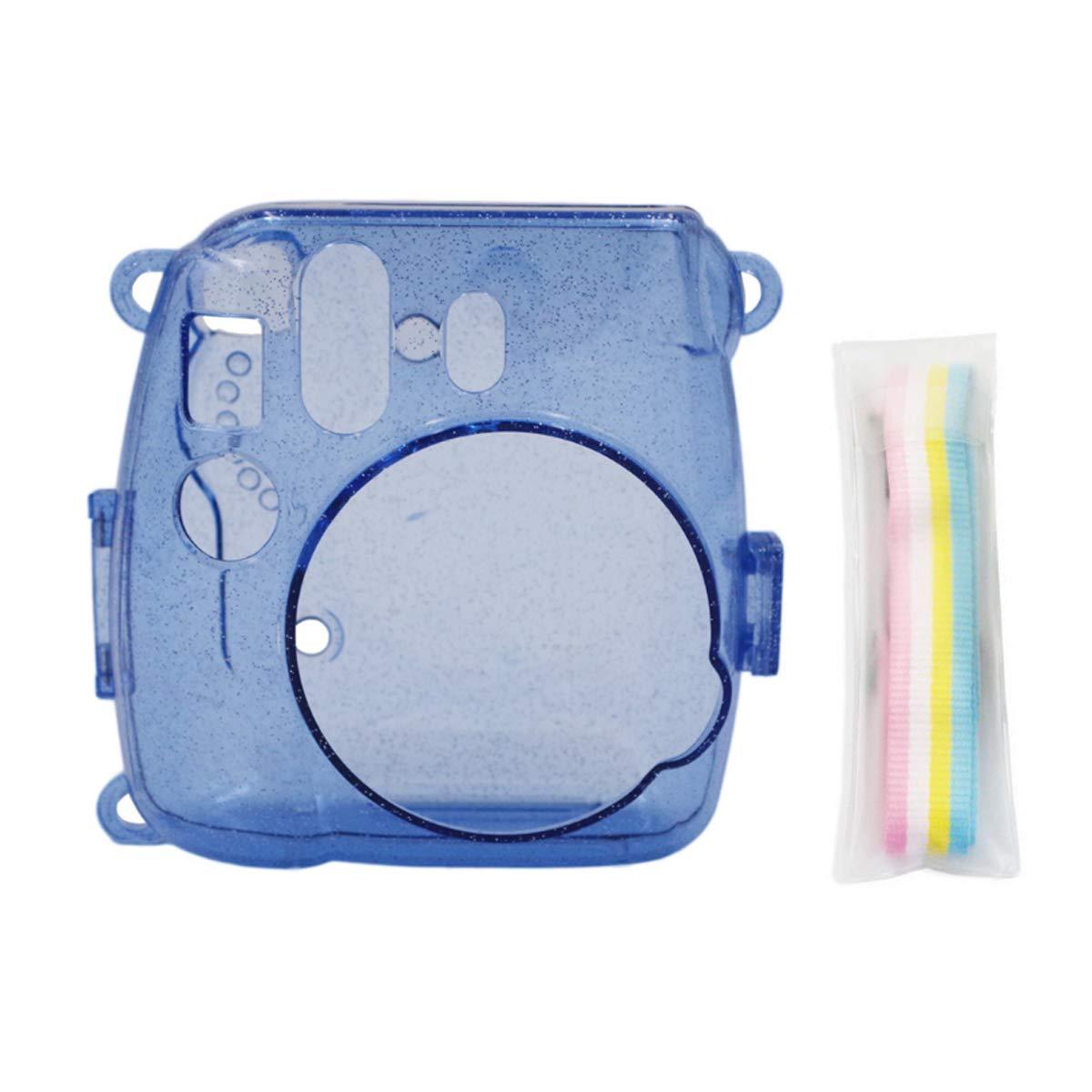 Ngaantyun グリッタークリスタルケース Fujifilm Instax Mini 9/8/8+ インスタントフィルムカメラ用 調節可能なストラップ付き ブルー B07P9PVS5N