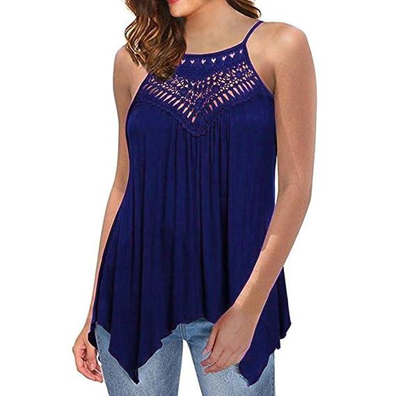 dae8fb9f QinMM Blusa de Encaje Hueco de Mujer, Camisa Holgada sin Tirantes Camiseta  (Azul,