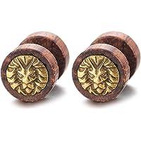 Men Women Steel Gold Lion Head Wood Circle Stud Earrings Cheater Fake Ear Plugs Gauges