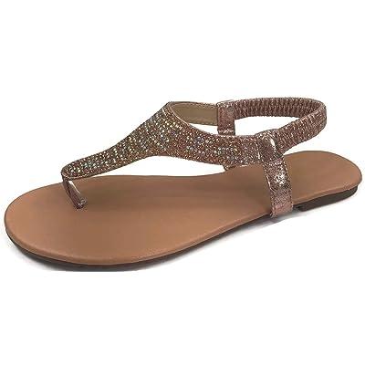 Harper Shoes Womens T-Strap Rhinestone Crystal Sandal Flat Slip On Flip Flip   Sandals