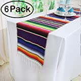(6, Mexican Purple) - Koyal Pack of 6 36cm x 210cm Mexican Serape Table Runner for Mexican Party Wedding Decorations Fringe Cotton Table Runner
