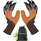 Garden Genie Gloves, Waterproof Garden Gloves with Claw For Digging Planting, Best Gardening Gifts for Women and Men. (Brown)