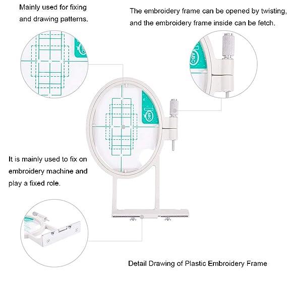 PandaHall Elite - 3 Piezas de Marco de plástico para Bordado, Herramienta de Costura de Punto de Cruz para el hogar, Platino, 97-168 x 147~293 mm, ...