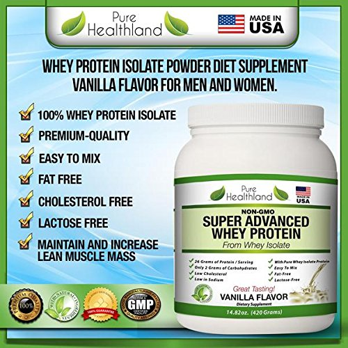 FAT FREE BEST TASTING Whey Protein Isolate Powder Vanilla Flavor. Organic, Natural, Pure Whey Protein Powder.