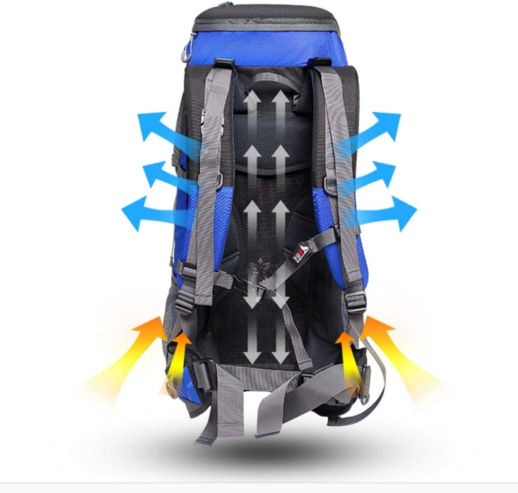 GYZ Outdoor Mountaineering Bag Large Capacity Backpack Men and Women Travel Backpack Camping Backpack Flame Pattern Design