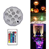 Garmaker Upgraded Submersible LED Lights,RGB Color Changing Party Lights Waterproof,4 Modes Submersible Lights Remote Controls Lighting Up Vase,Bowl,Fish Tank,Wedding,Halloween,Party Lights