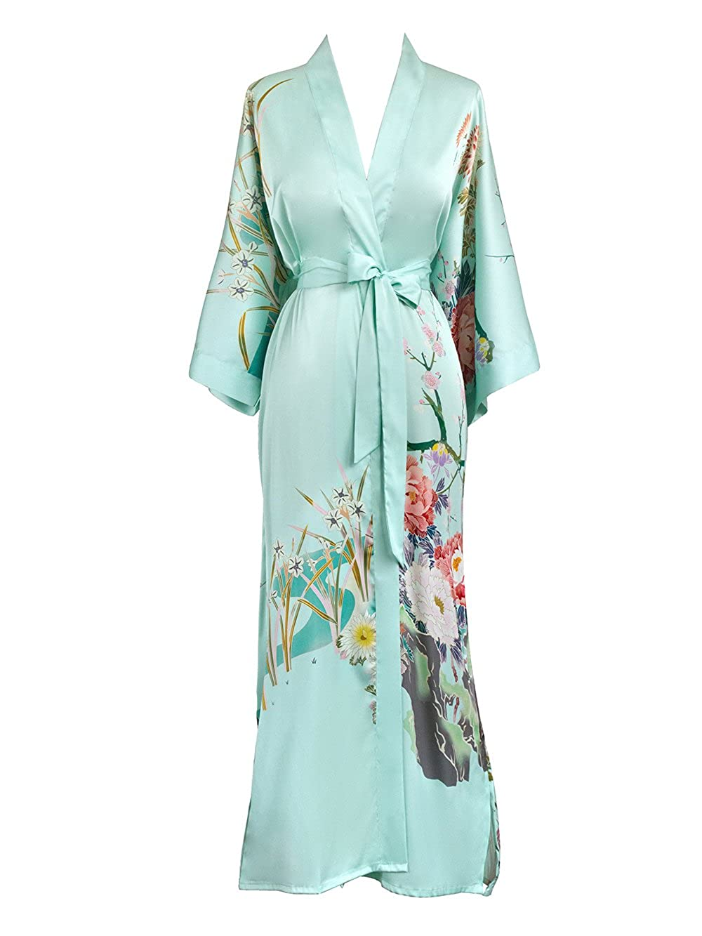 Spring Floral Mist Old Shanghai Women's Kimono Robe Long  Watercolor Floral