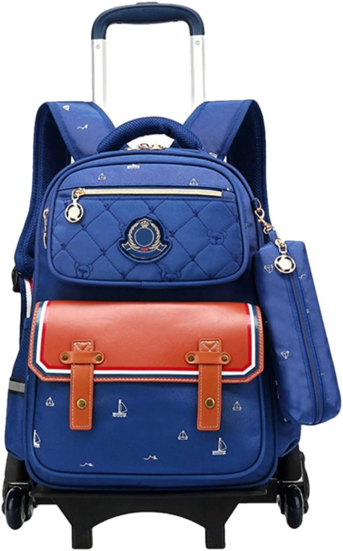 Zhhlinyuan Durable Waterproof Rolling Backpack Carry On for Girls Boys with Wheels