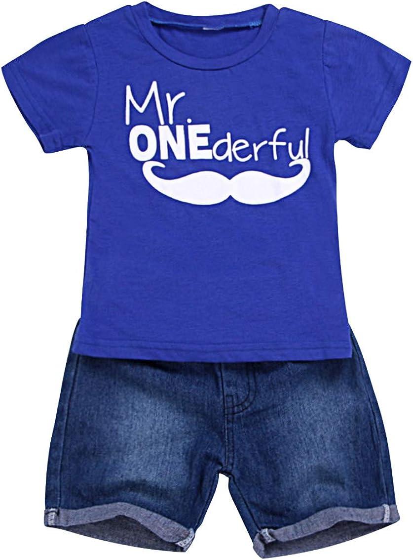 Denim Short Pants Summer Outfits Clothes 0-3 Years Jurebecia Baby Boy Summer Newborn Infant Kids Fashion Cartoon Print Blue T-Shirt Tops