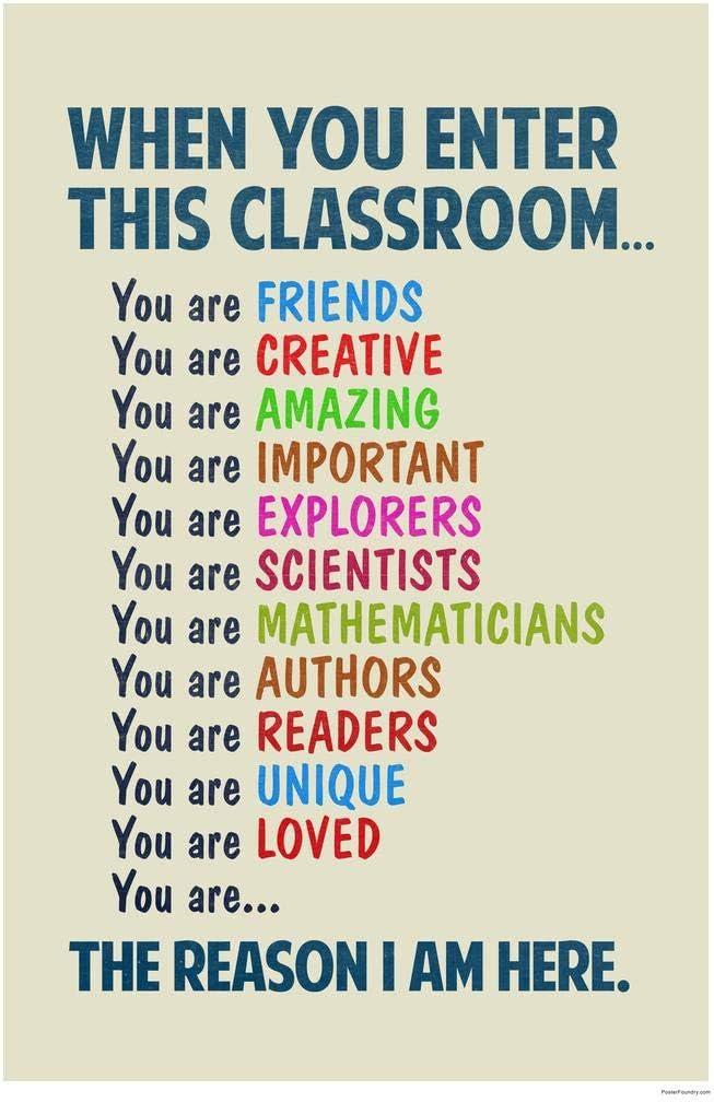 Classroom Sign When You Enter This Classroom Educational Rules Teacher Supplies School Decor Teaching Toddler Elementary Learning Teachers Motivational Light Cool Wall Decor Art Print Poster 8x12