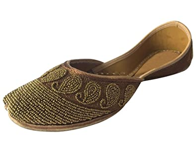Schritt N Style Perlen Schuhe mojari Panjabi jutti Kleid Schuhe Khussa Schuhe Frauengewand jooti, Schwarz - schwarz - Größe: 36