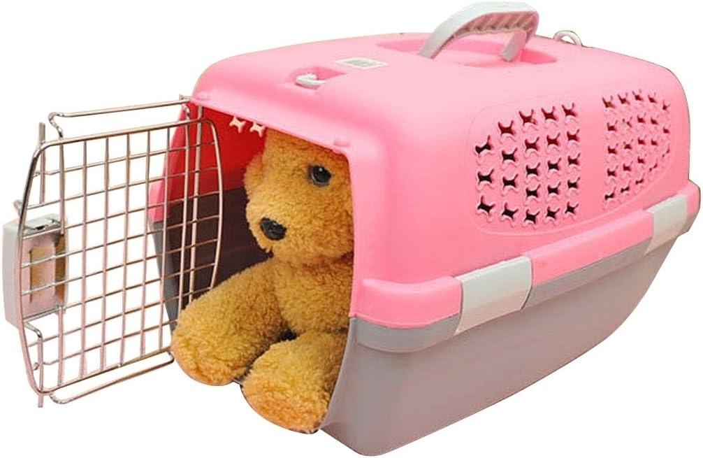 XACQuanyao para Gatos/Perros y Otras Mascotas Pet Airways Box Checked Los Maletas Maletas de Transporte de Equipaje (Top sin Orificios de ventilación del Techo Solar) Small (Color : Rosa)