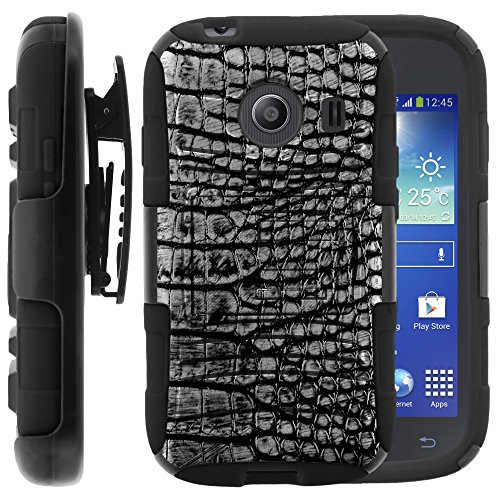Samsung Galaxy Ace Style Case, Samsung Galaxy Ace Style Holster, Two Layer Hybrid Armor Hard Cover with Built in Kickstand for Samsung Galaxy Ace Style S765C SM-G310 from MINITURTLE | Includes Screen Protector - Smoke Gray Scales