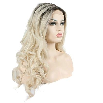 Peluca de alta temperatura de color pastel blanco rubio oscuro rootes sintético encaje delantero pelucas largas