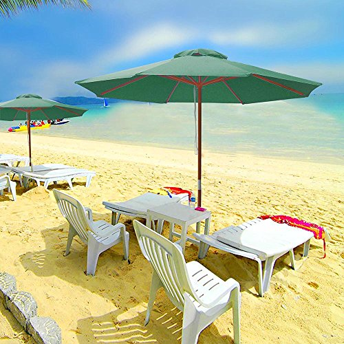 9ft Wooden Outdoor Patio Green Umbrella W/ Pulley Market Garden Yard Beach Deck Cafe Decor Sunshade 61F0F I0h8L