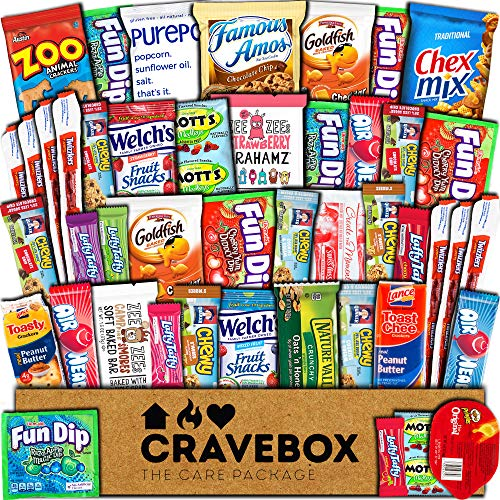CraveBox Snacks 45 Count Ultimate Care Package Variety Box Gift Pack Assortment Basket Bundle Mixed Bulk Sampler Treats Bars Chips Candy Cookies College Finals Students Office Trips Summer Camp Boy]()
