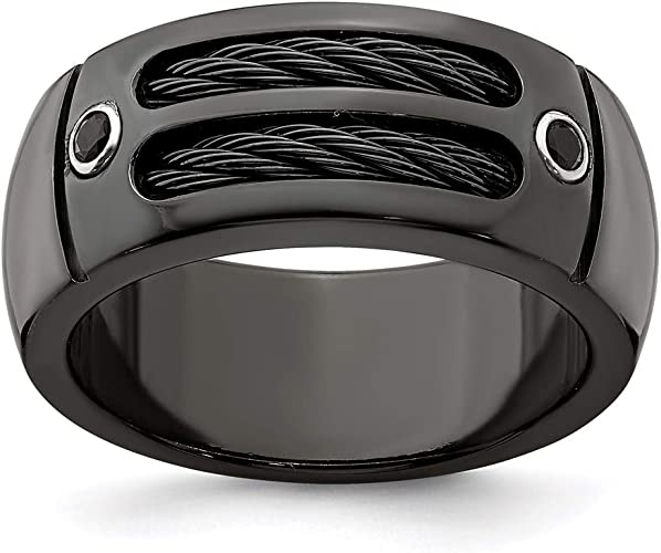 Mens Jewelry and Accessories Rings Wedding Bands Edward Mirell Titanium Cable and Black Spinel with Sterling Silver Bezel 7mm Band Size 12.5