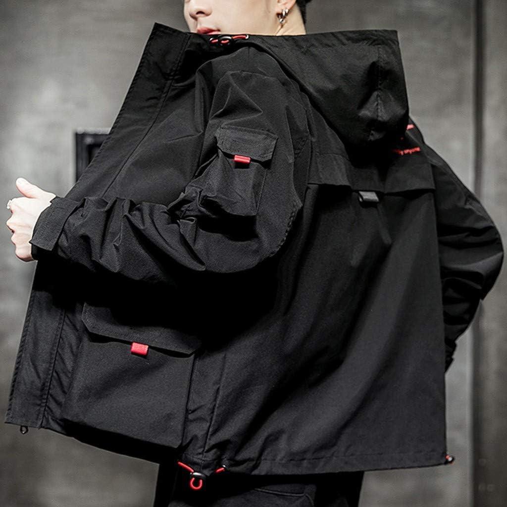 Tiandino Big and Tall Mens Military Hooded Jacket Autumn Lightweight Multi Pockets Windbreaker Jackets Zip-up Bomber Coat