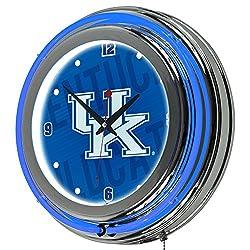 Trademark Gameroom University of Kentucky Chrome Double Rung Neon Clock - Wordmark