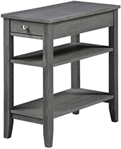 Convenience Concepts American Heritage Three Tier End Table with Drawer, Dark Gray Wirebrush