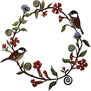 Chickadees & Flowers Wreath Wall Art - Hand Painted,Home and Garden Hanging Metal Birds Wreath with Flowers,Wreath Metal Artwork for Window,Garden, Yard, Outdoor Wall Farmhouse Decor Porch Decoration