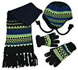 N'Ice Caps Boys Sherpa Lined Knit Hat Scarf