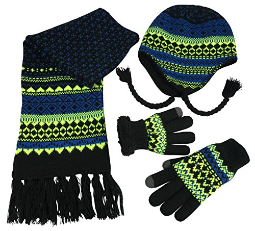 N'Ice Caps Big Boys Racer Striped Knitted Hat/Scarf/Glove Fleece Lined Set (Black/Royal/Multi, ()