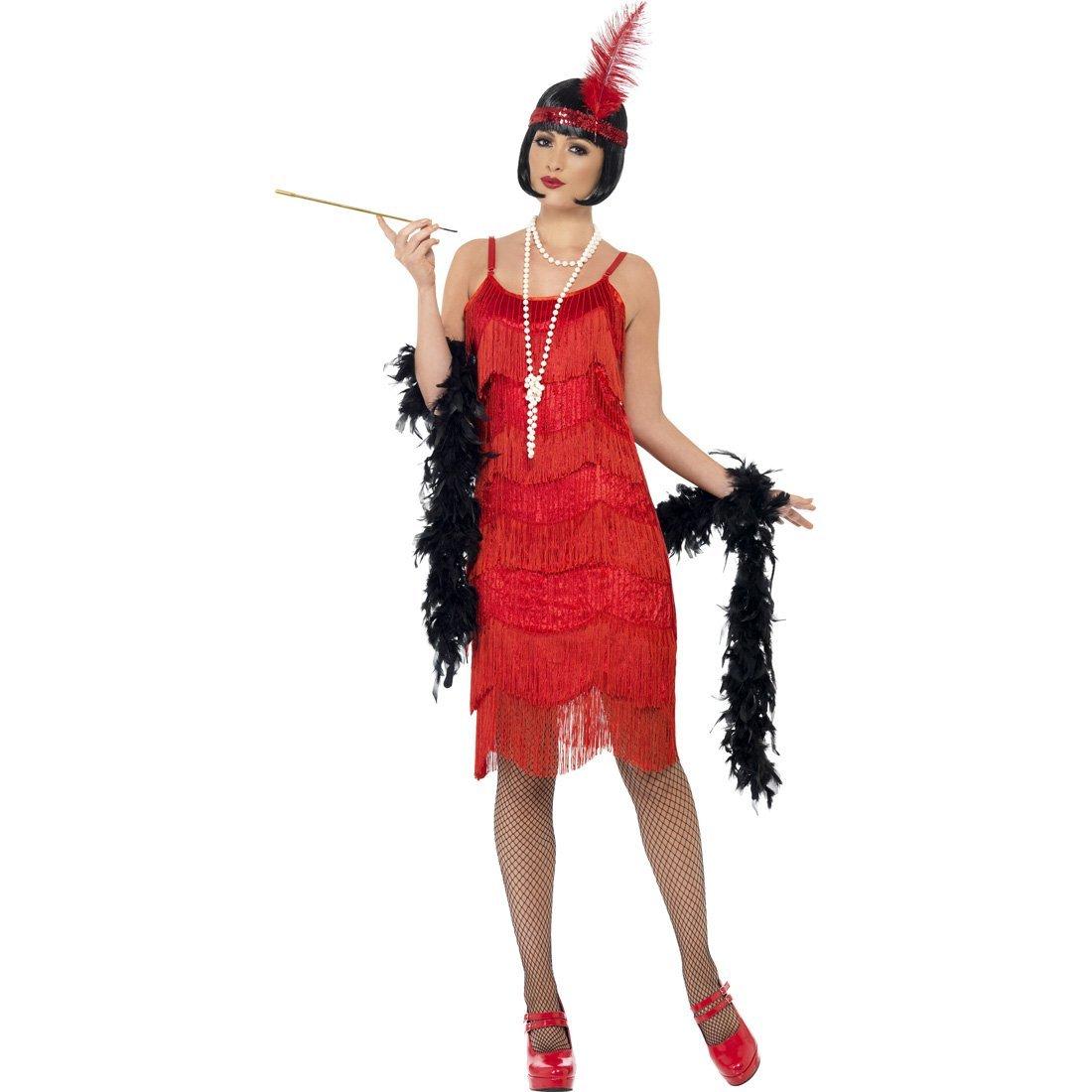 NET TOYS 23er Jahre Charleston Kostüm rot Fransenkleid S 36/38 Flapperkostüm Flapperkleid Flapper Kleid Charlestonkleid