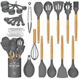 Umite Chef Kitchen Cooking Utensils Set, 24 pcs Non-stick Silicone Cooking Kitchen Utensils Spatula Set with Holder, Woodle H