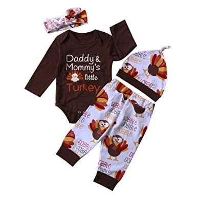 99a5ce65a 4Pcs/Set Baby Girl Boy Thanksgiving Outfit Long Sleeve Romper Bodysuit+ Turkey Pants+