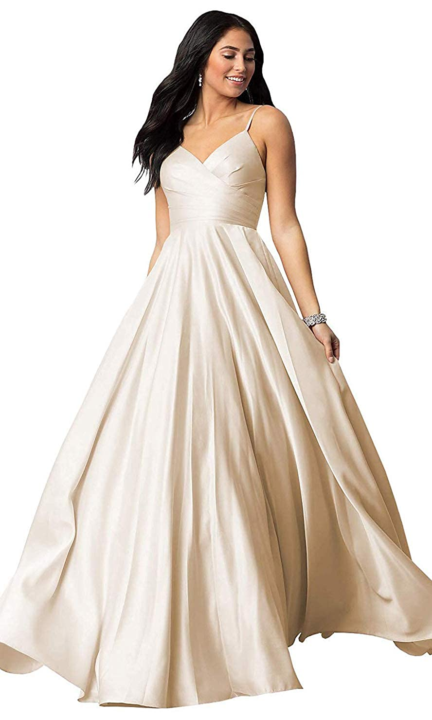 Champagne FeiYueXinXing Satin VNeck Prom Dresses Long Spaghetti Strap Formal Prom Evening Gown