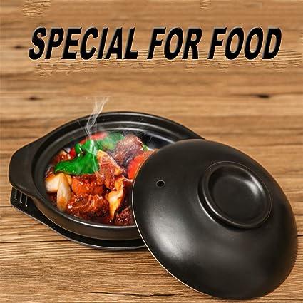 Clay Pot Casserole Korean Small Shallow Casserole Japanese Hot Pot DQM 45 OZ Ceramic Stew Pot with Lid Casserole Soup Pot Cooker Multi-Purpose
