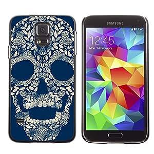 TopCaseStore / la caja del caucho duro de la cubierta de protección de la piel - Floral Vintage Retro Skull Blue Rose - Samsung Galaxy S5 SM-G900