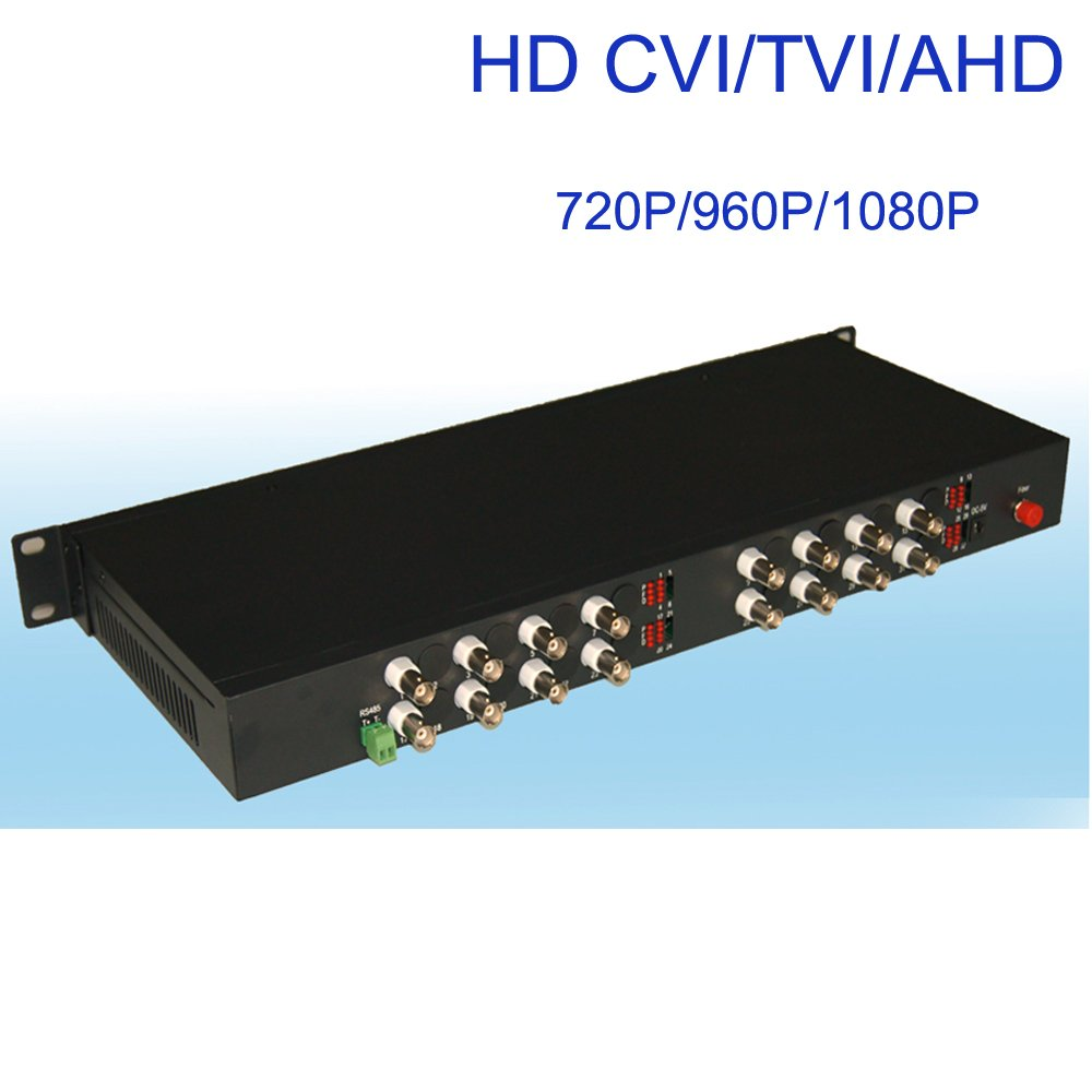 Guantai HD 1080P 16 Channels Video Fiber Optical Media Converters (Transmitter and Receiver) with Data for HD CCTV 1080P 960p 720p CVI TVI AHD Cameras, Long Working Distance 10Km